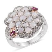 Australian White Opal, Ruby, White Topaz 14K RG and Platinum Over Sterling Silver Cluster Split Ring (Size 8.0) TGW 2.19 cts.