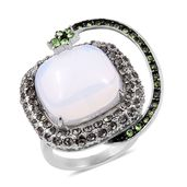 Opalite, Austrian Crystal Stainless Steel Shooting Star Ring (Size 7.0) TGW 40.000 cts.