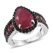 Niassa Ruby, Mozambique Garnet, Thai Black Spinel Platinum Over Sterling Silver Midnight Flame Ring (Size 7.0) 0 0 TGW 9.770 cts.
