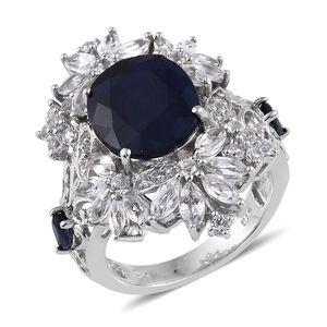 Kanchanaburi Blue Sapphire, White Topaz Platinum Over Sterling Silver Statement Ring (Size 9.0) TGW 11.850 cts.