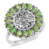 Santa Fe Style Green Moldavite Sterling Silver Ring (Size 9.0) TGW 2.100 cts.