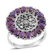 Santa Fe Style Mojave Purple Turquoise Sterling Silver Ring (Size 7.0) TGW 2.100 cts.