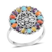 Santa Fe Style Mojave Purple Turquoise, Multi Gemstone Sterling Silver Ring (Size 9.0) TGW 0.50 cts.