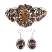 South African Tigers Eye Silvertone Bangle (7.50 in) and Earrings TGW 60.000 Cts.