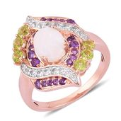 Australian White Opal, Multi Gemstone 14K RG Over Sterling Silver Ring (Size 9.0) TGW 2.85 cts.