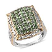 KARIS Collection - ION Plated 18K YG and Platinum Bond Brass Ring Made with SWAROVSKI Green Crystal (Size 5.0) TGW 4.850 cts.