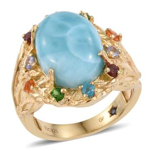 GP Larimar, Multi Gemstone 14K YG Over Sterling Silver Ring (Size 6.0) TGW 11.085 cts.