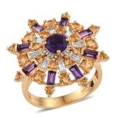 GP Amethyst, Multi Gemstone 14K YG Over Sterling Silver Spinner Ring (Size 6.0) TGW 3.590 cts.