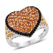 Salamanca Fire Opal, Thai Black Spinel 14K YG and Platinum Over Sterling Silver Heart Cluster Ring (Size 5.0) TGW 1.530 cts.