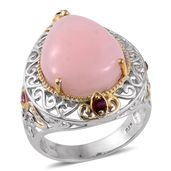 Peruvian Pink Opal, Ruby 14K YG and Platinum Over Sterling Silver Openwork Ring (Size 6.0) TGW 12.04 cts.