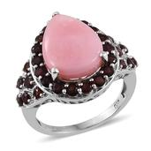 Peruvian Pink Opal, Mozambique Garnet Platinum Over Sterling Silver Ring (Size 7.0) TGW 8.650 cts.