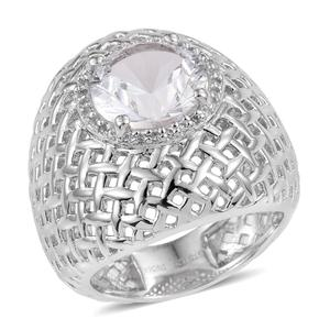 White Topaz, Cambodian Zircon Platinum Over Sterling Silver Ring (Size 11.0) 0 TGW 3.850 cts.