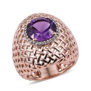 Amethyst, Cambodian Zircon 14K RG Over Sterling Silver Openwork Ring (Size 8.0) TGW 2.05 cts.
