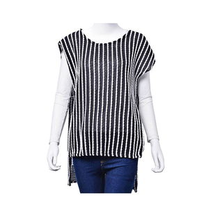 Navy Blue and White and White Striped 100% Polyester Tunic (Medium/Large)