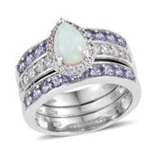 Mega Clearance Ethiopian Welo Opal, Tanzanite, White Zircon Platinum Over Sterling Silver Stackable Rings (Size 5.0) TGW 2.955 cts.