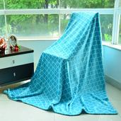 Blue Microfiber Plush Flannel Quatrefoil Print Throw (78x59 In)