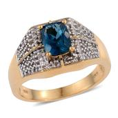 London Blue Topaz, White Topaz 14K YG Over Sterling Silver Men's Ring (Size 10.0) TGW 3.640 cts.