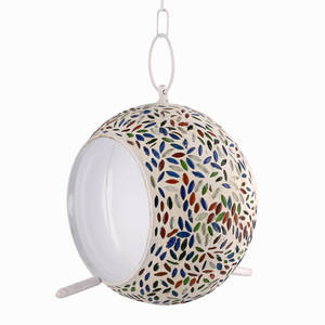 Handcrafted Outdoor Decor Multi Color Mosaic Bird Feeder
