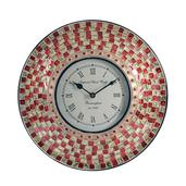 Handcrafted Red Mosaic Wall Clock (12 in)