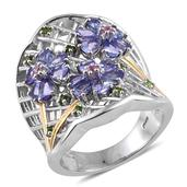 Premium AAA Tanzanite, Multi Gemstone 14K YG and Platinum Over Sterling Silver Openwork Elongated Ring (Size 6.0) TGW 3.13 cts.