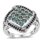 Indian Ocean Apatite, Thai Black Spinel Platinum Over Sterling Silver Split Statement Ring (Size 7.0) TGW 2.190 cts.