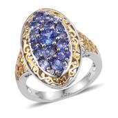Premium AAA Tanzanite, Diamond Accent 14K YG and Platinum Over Sterling Silver Openwork Elongated Ring (Size 8.0) TDiaWt 0.02 cts, TGW 2.415 cts.