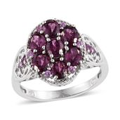 Purple Garnet Platinum Over Sterling Silver Ring (Size 7.0) TGW 3.500 cts.