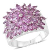 Madagascar Pink Sapphire Sterling Silver Ring (Size 7.0) TGW 3.52 cts.