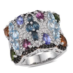 Cambodian Zircon, Multi Gemstone Platinum Over Sterling Silver Ring (Size 11.0) TGW 153.818 cts.