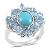 Arizona Sleeping Beauty Turquoise, Swiss Blue Topaz, White Zircon Sterling Silver Ring (Size 6.0) TGW 4.790 cts.