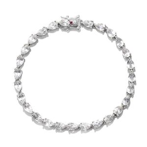 Doorbuster White Topaz, Ruby Platinum Over Sterling Silver Bracelet (7.50 In) ts. TGW 14.09 cts.