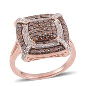 Red Diamond (IR), Diamond 14K RG Over Sterling Silver Ring (Size 9.0) TDiaWt 0.96 cts, TGW 0.960 cts.