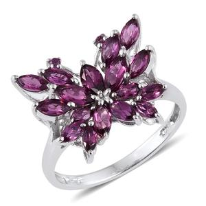 Purple Garnet Platinum Over Sterling Silver Ring (Size 6.0) TGW 2.950 cts.