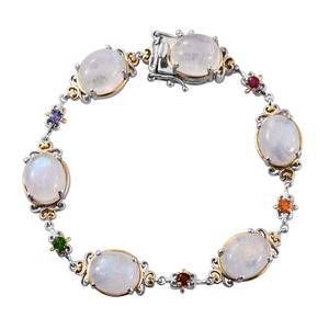 Sri Lankan Rainbow Moonstone, Multi Gemstone 14K YG and Platinum Over Sterling Silver Bracelet (7.50 In) TGW 37.420 cts.