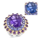 Color Change Fluorite, Tanzanite, Amethyst 14K YG and Platinum Over Sterling Silver Ring (Size 8.0) TGW 22.940 cts.