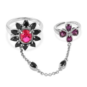 Rubellite Color Quartz, Thai Black Spinel, Orissa Rhodolite Garnet Platinum Over Sterling Silver Double Finger Chain Ring (Size 8.0) TGW 7.41 cts.
