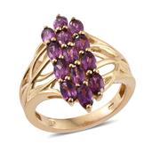 Purple Garnet 14K YG Over Sterling Silver Openwork Ring (Size 10.0) TGW 4.300 cts.