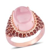 Galilea Rose Quartz, Mozambique Garnet 14K RG Over Sterling Silver Ring (Size 7.0) TGW 15.410 cts.