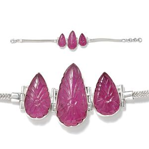 Artisan Crafted Ruby Sterling Silver Bracelet (7.50 In) TGW 37.200 cts.