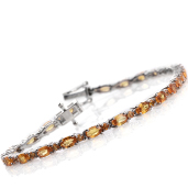 Yellow Sapphire Platinum Over Sterling Silver Bracelet (7.50 In) TGW 8.500 cts.