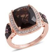 Brazilian Smoky Quartz, Multi Gemstone 14K RG Over Sterling Silver Ring (Size 7.0) TGW 5.460 cts.