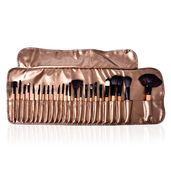 24 Pcs Make Up Brush Set with Bronze Carrying Pouch