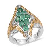 Boyaca Colombian Emerald 14K YG and Platinum Over Sterling Silver Openwork Ring (Size 8.0) TGW 1.600 cts.