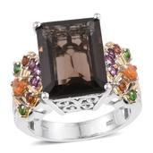 Brazilian Smoky Quartz, Multi Gemstone 14K YG and Platinum Over Sterling Silver Openwork Ring (Size 8.0) TGW 10.750 cts.