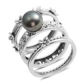 Tahitian Pearl Sterling Silver Set of 3 Rings (Size 7) TGW 5.000 Cts.