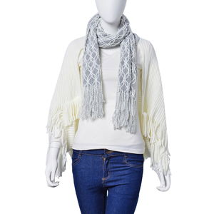 J Francis - White Fringe Kimono with Scarf Attachment