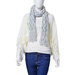 White Fringe Kimono with Scarf Attachment