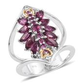 Purple Garnet, White Topaz 14K YG and Platinum Over Sterling Silver Open Double Band Ring (Size 9.0) TGW 3.710 cts.