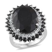 Australian Black Tourmaline, Thai Black Spinel, White Topaz Platinum Over Sterling Silver Ring (Size 10.0) TGW 22.150 cts.