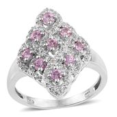 Madagascar Pink Sapphire, White Topaz Platinum Over Sterling Silver Ring (Size 7.0) TGW 1.56 cts.
